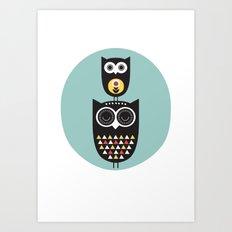 Owl décor - modern nursery art - geometric pattern Art Print
