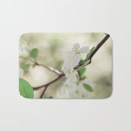 Bloom in White Bath Mat