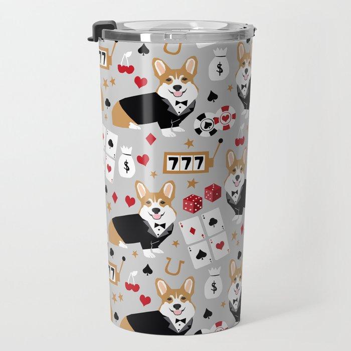 Corgi blackjack poker night dog breed pet art tuxedo red welsh corgi Travel Mug