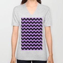 Black and Lavender Violet Horizontal Zigzags Unisex V-Neck