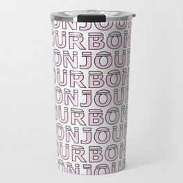 Pink Bonjour #society6 #pattern Travel Mug