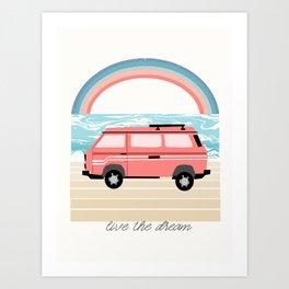 Van Life II - rainbow beach van road tripping travel camping bus RV art Art Print