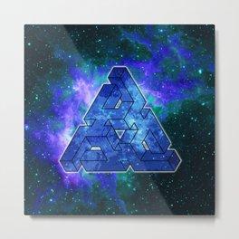Triangle Blue Space With Nebula Metal Print