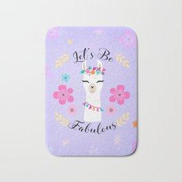 Let's Be Fabulous - Purple Cute Alpaca - Llama with Flowers Bath Mat
