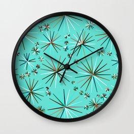 Mid-Century Modern Sputnik pattern, Robin's Egg Blue Wall Clock