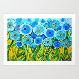 Field of Blue Poppies #1 Art Print