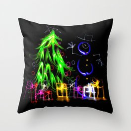 Happy Holidays a light painting Christmas tree and snowman Throw Pillow