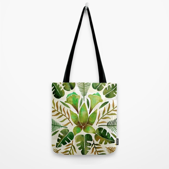 Tropical Symmetry – Olive Green Tote Bag