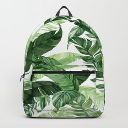 Green leaf watercolor pattern Rucksack