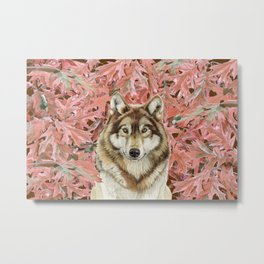 Wolf_leaves Metal Print