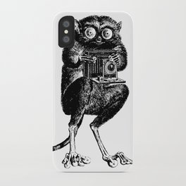 Say Cheese! | Tarsier with Vintage Camera | Black and White iPhone Case