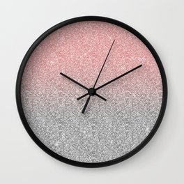 Girly Rose Gold & Silver Ombre Glitter Design Wall Clock