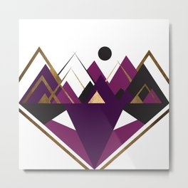 Art Deco Mountain Teepees In Purple Metal Print