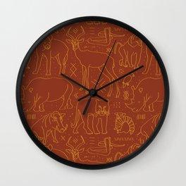 African Animal Mudcloth in Rust + Ochre Wall Clock