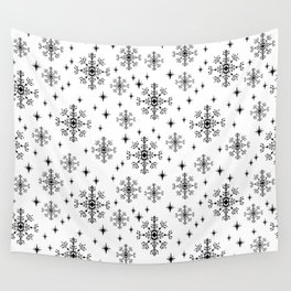 Snowflakes winter christmas minimal holiday black and white decor gifts Wall Tapestry