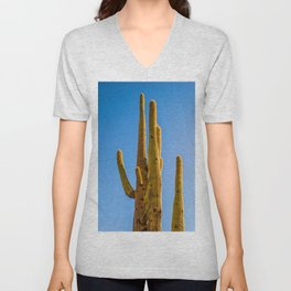Minimalist Green Cactus Blue Sky Mexican Desert Landscape Unisex V-Neck