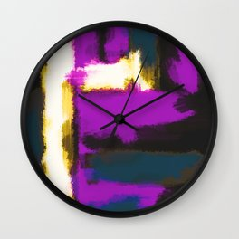 white pink and blue painting texture abstract with black background Wall Clock