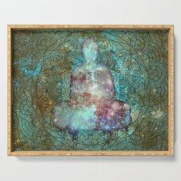 Watercolor Mandala Buddha in Galaxy Serving Tray