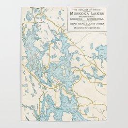 Vintage Muskoka Lakes Map Poster
