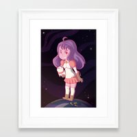 bee and puppycat Framed Art Prints featuring Bee and Puppycat by Steph Harrison