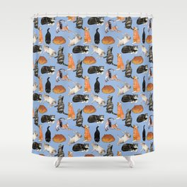 cats cats cats on light blue Shower Curtain
