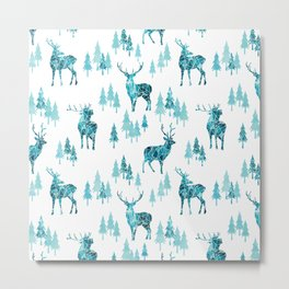 Ice Forest Deer Metal Print