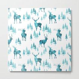 Ice Forest Deer Metal Print