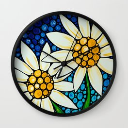 Bathing Beauties - Two best friends...white daisies...by Sharon Cummings.  Labor of Love series. Wall Clock
