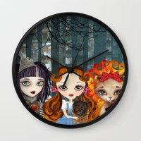 oz Wall Clocks featuring Oz Girls by Sandra Vargas
