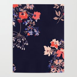 Colorful Night Roses Poster