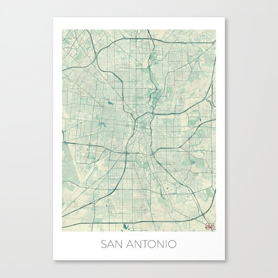 San Antonio Map Blue Vintage Canvas Print