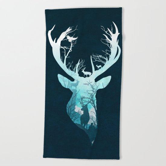 Deer Blue Winter Beach Towel