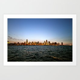 Chicago Skyline Sunset Art Print