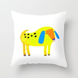Yellow Spotted Dog Throw Pillow