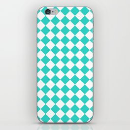 Diamonds - White and Turquoise iPhone Skin