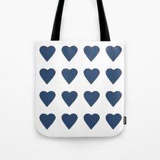 16 Hearts Navy Tote Bag