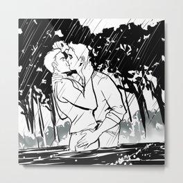 Traced in Rain Metal Print