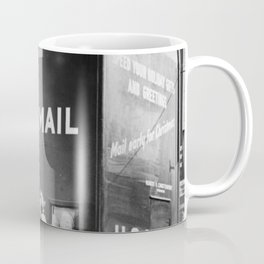 Times Square Post Office Giant Mailbox Stamp-selling Booth black and white photography Coffee Mug