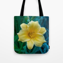 Yellow Day Lily on Green Blue Background Tote Bag