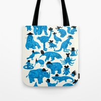 hats Tote Bags featuring Blue Animals Black Hats by WanderingBert / David Creighton-Pester