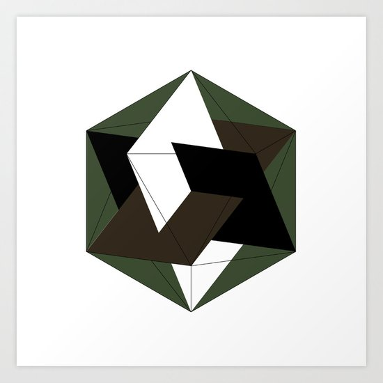 #257 Three golden rectangles in an icosahedron – Geometry Daily Art Print