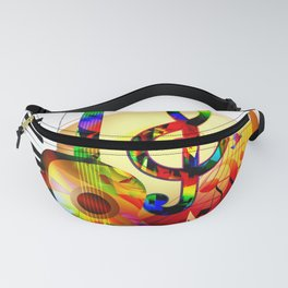 Colorful  music instruments painting, guitar, treble clef, piano, musical notes, flying birds Fanny Pack