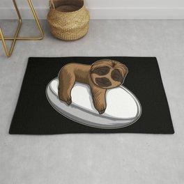 Cute Sloth Sleeps On A Rugby Ball Rug