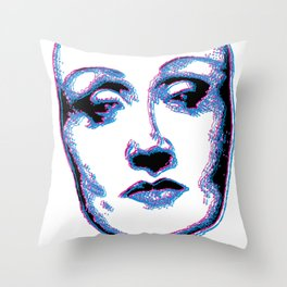 3D Portrait of Marlene Dietrich Throw Pillow