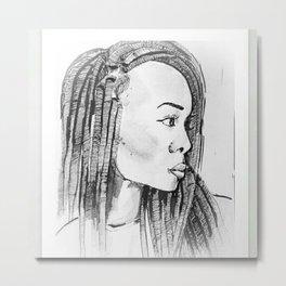 Femme aux dreads Metal Print
