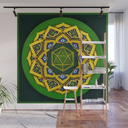 """Sacred geometry"" Green mandala by Ilse Quezada Wall Mural"