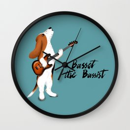Basset the Bassist (Blue-Gray) Wall Clock