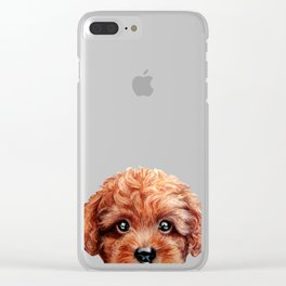 Toy poodle red brown Dog illustration original painting print Clear iPhone Case