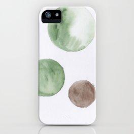 6 |181104 Australian Leaf Green & Brown Earth Orbs | Watercolour Circle Abstract Geometrical iPhone Case