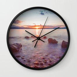 Sunset Lake Long Exposure (Color) Wall Clock